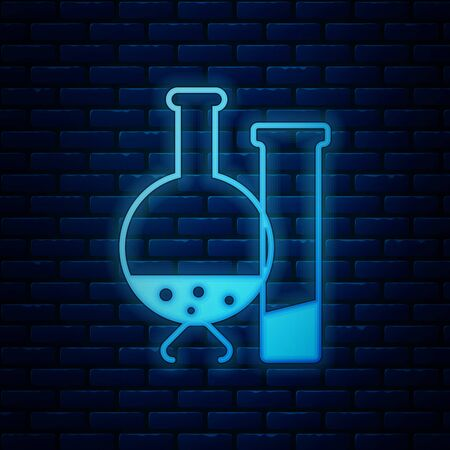 Glowing neon Test tube and flask - chemical laboratory test icon isolated on brick wall background. Laboratory glassware sign. Vector Illustration 向量圖像
