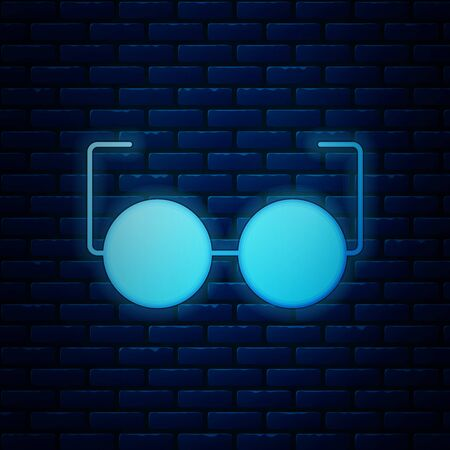 Glowing neon Glasses icon isolated on brick wall background. Eyeglass frame symbol. Vector Illustration  イラスト・ベクター素材