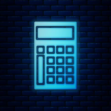 Glowing neon Calculator icon isolated on brick wall background. Accounting symbol. Business calculations mathematics education and finance. Vector Illustration Иллюстрация