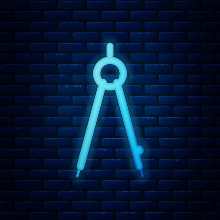 Glowing neon Drawing compass icon isolated on brick wall background. Compasses sign. Drawing and educational tools. Geometric instrument. Vector Illustration Banco de Imagens - 130818864