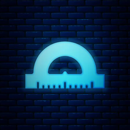 Glowing neon Protractor grid for measuring degrees icon isolated on brick wall background. Tilt angle meter. Measuring tool. Geometric symbol. Vector Illustration Ilustracja