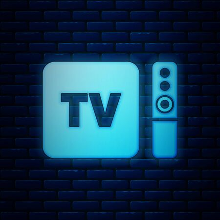Glowing neon Multimedia and TV box receiver and player with remote controller icon isolated on brick wall background. Vector Illustration