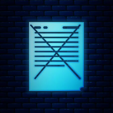 Glowing neon Exam paper with incorrect answers survey icon isolated on brick wall background. Bad mark of test results, concept of unsuccessful report. Vector Illustration Stock Illustratie