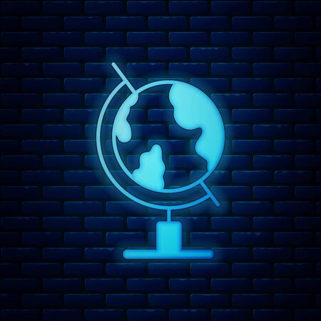 Glowing neon Earth globe icon isolated on brick wall background. Vector Illustration Иллюстрация