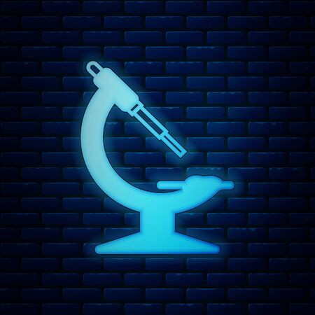 Glowing neon Microscope icon isolated on brick wall background. Chemistry, pharmaceutical instrument, microbiology magnifying tool. Vector Illustration
