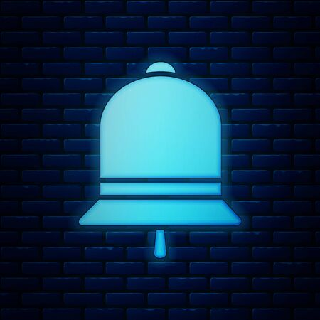Glowing neon Ringing bell icon isolated on brick wall background. Alarm symbol, service bell, handbell sign, notification symbol. Vector Illustration