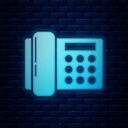 Glowing neon Telephone icon isolated on brick wall background. Landline phone. Vector Illustration  イラスト・ベクター素材