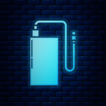 Glowing neon Power bank with different charge cable icon isolated on brick wall background. Portable charging device. Vector Illustration  イラスト・ベクター素材