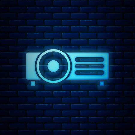Glowing neon Presentation, movie, film, media projector icon isolated on brick wall background. Vector Illustration Иллюстрация