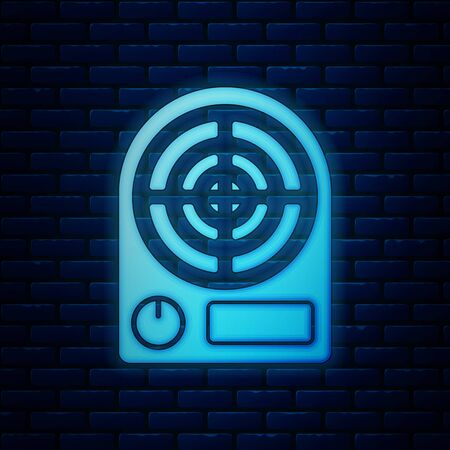 Glowing neon Electric heater icon isolated on brick wall background. Infrared floor heater with remote control. House climate control. Vector Illustration