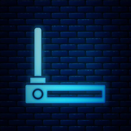 Glowing neon Router and wifi signal symbol icon isolated on brick wall background. Wireless modem router. Computer technology internet. Vector Illustration