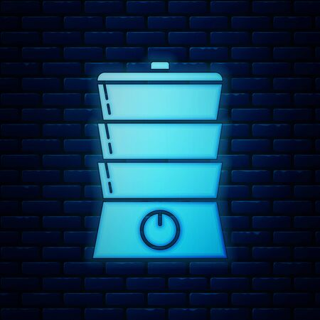 Glowing neon Double boiler icon isolated on brick wall background. Vector Illustration  イラスト・ベクター素材
