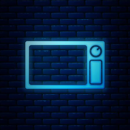Glowing neon Microwave oven icon isolated on brick wall background. Home appliances icon. Vector Illustration  イラスト・ベクター素材