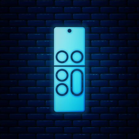 Glowing neon Remote control icon isolated on brick wall background. Vector Illustration