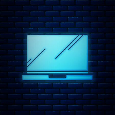 Glowing neon Laptop icon isolated on brick wall background. Computer notebook with empty screen sign. Vector Illustration Иллюстрация