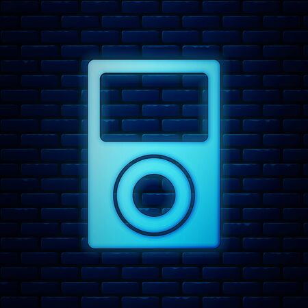 Glowing neon Music player icon isolated on brick wall background. Portable music device. Vector Illustration