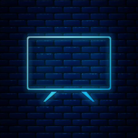 Glowing neon Smart Tv icon isolated on brick wall background. Television sign. Vector Illustration