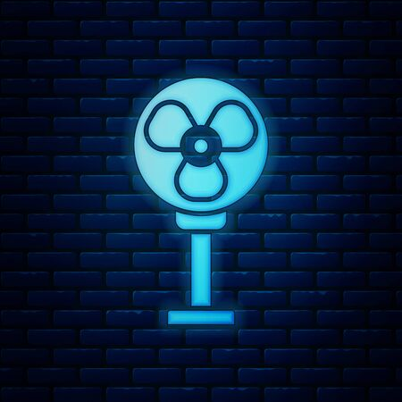 Glowing neon Electric fan icon isolated on brick wall background. Vector Illustration