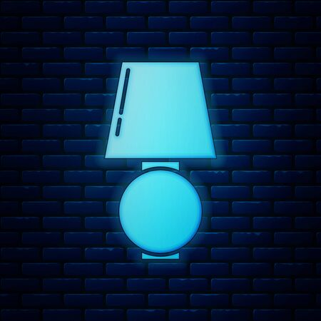 Glowing neon Table lamp icon isolated on brick wall background. Vector Illustration