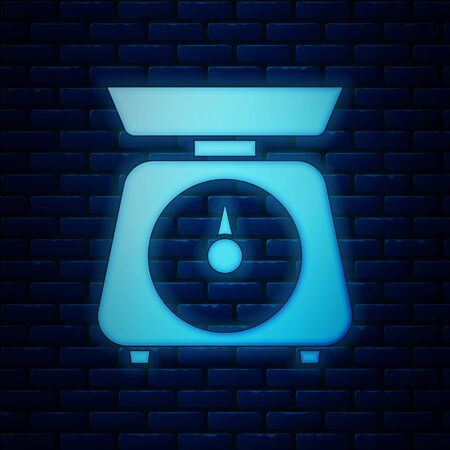 Glowing neon Scales icon isolated on brick wall background. Weight measure equipment. Vector Illustration