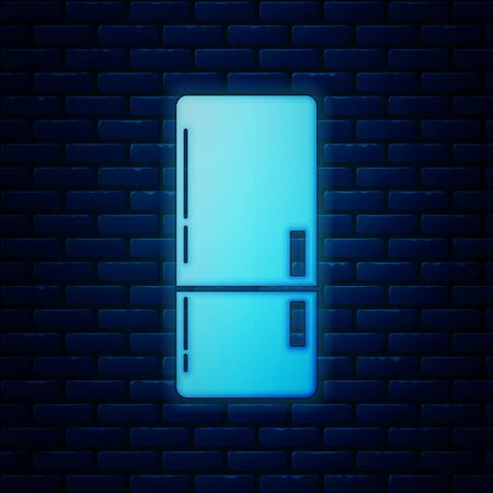 Glowing neon Refrigerator icon isolated on brick wall background. Fridge freezer refrigerator. Household tech and appliances. Vector Illustration  イラスト・ベクター素材