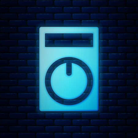 Glowing neon Smart home icon isolated on brick wall background. Remote control. Vector Illustration Иллюстрация