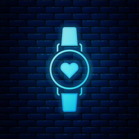 Glowing neon Smart watch showing heart beat rate icon isolated on brick wall background. Fitness App concept. Vector Illustration Фото со стока - 130818905