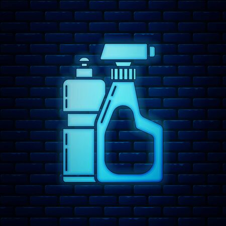 Glowing neon Plastic bottles for liquid laundry detergent, bleach, dishwashing liquid or another cleaning agent icon isolated on brick wall background. Vector Illustration Illustration