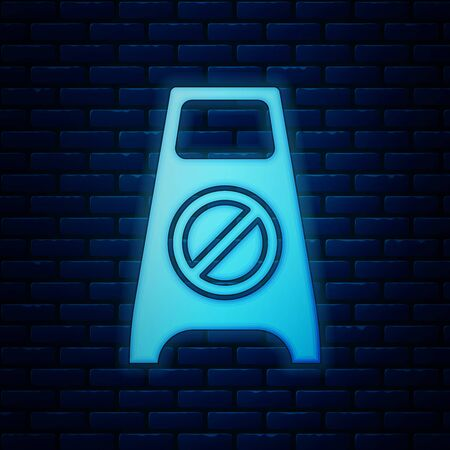 Glowing neon Wet floor and cleaning in progress icon isolated on brick wall background. Cleaning service concept. Vector Illustration