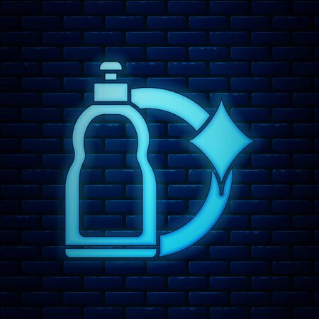 Glowing neon Plastic bottle for liquid laundry detergent, bleach, dishwashing liquid or another cleaning agent icon isolated on brick wall background. Vector Illustration