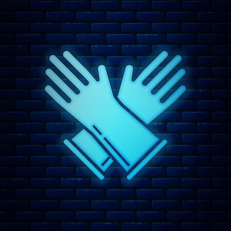 Glowing neon Rubber gloves icon isolated on brick wall background. Latex hand protection sign. Housework cleaning equipment symbol. Vector Illustration