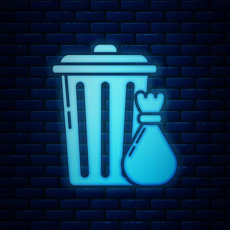 Glowing neon Trash can and garbage bag icon isolated on brick wall background. Garbage bin sign. Recycle basket icon. Office trash icon. Vector Illustration Иллюстрация