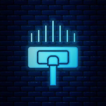 Glowing neon Cleaning service icon isolated on brick wall background. Vacuum cleaner head in circle, carpet cleaning. Vector Illustration