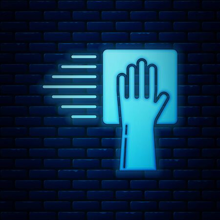 Glowing neon Cleaning service icon isolated on brick wall background. Vector Illustration Illustration