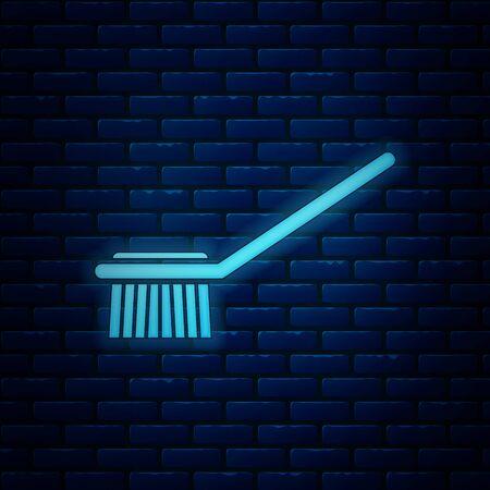 Glowing neon Toilet brush icon isolated on brick wall background. Vector Illustration Illustration