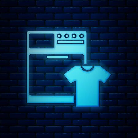Glowing neon Washer and t-shirt icon isolated on brick wall background. Washing machine icon. Clothes washer - laundry machine. Home appliance symbol. Vector Illustration Ilustração
