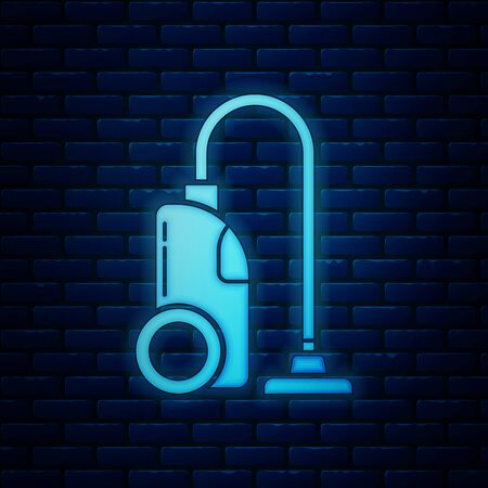 Glowing neon Vacuum cleaner icon isolated on brick wall background. Vector Illustration  イラスト・ベクター素材