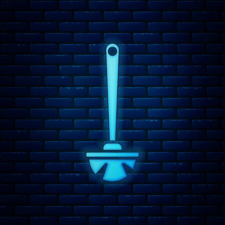 Glowing neon Toilet brush icon isolated on brick wall background. Vector Illustration 일러스트