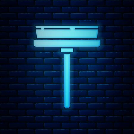 Glowing neon Cleaning service with of rubber cleaner for windows icon isolated on brick wall background. Squeegee, scraper, wiper. Vector Illustration