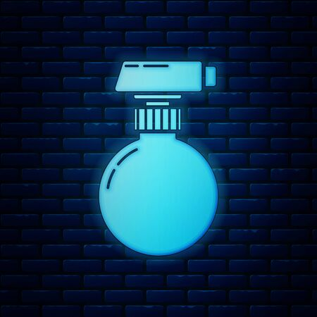 Glowing neon Cleaning spray bottle with detergent liquid icon isolated on brick wall background. Vector Illustration  イラスト・ベクター素材