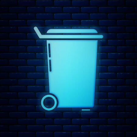 Glowing neon Trash can icon isolated on brick wall background. Garbage bin sign. Recycle basket icon. Office trash icon. Vector Illustration Фото со стока - 130818934