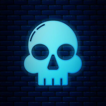 Glowing neon Skull icon isolated on brick wall background. Happy Halloween party. Vector Illustration