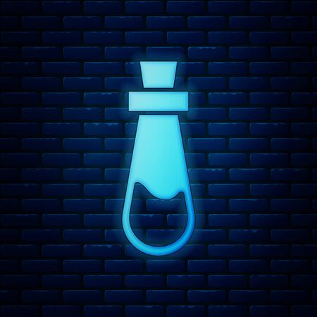 Glowing neon Bottle with potion icon isolated on brick wall background. Flask with magic potion. Happy Halloween party. Vector Illustration Иллюстрация