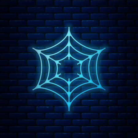 Glowing neon Spider web icon isolated on brick wall background. Cobweb sign. Happy Halloween party. Vector Illustration
