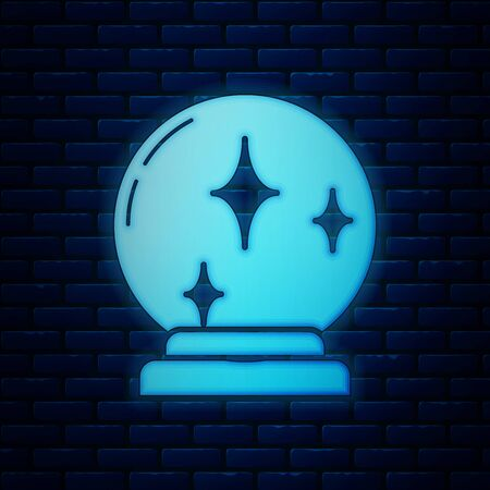 Glowing neon Magic ball icon isolated on brick wall background. Crystal ball. Vector Illustration