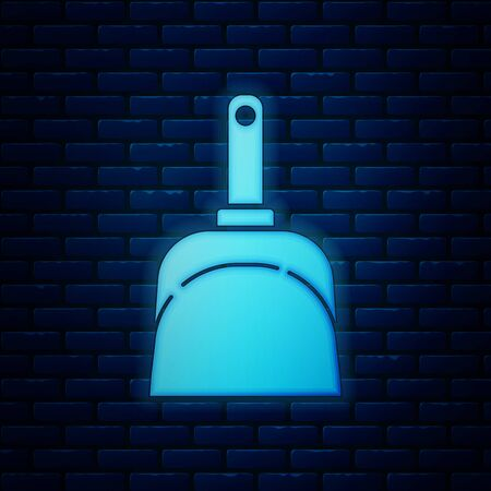 Glowing neon Dustpan icon isolated on brick wall background. Cleaning scoop services. Vector Illustration
