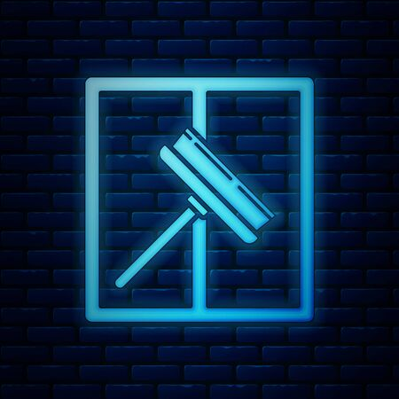 Glowing neon Cleaning service with of rubber cleaner for windows icon isolated on brick wall background. Squeegee, scraper, wiper. Vector Illustration Zdjęcie Seryjne - 130818946