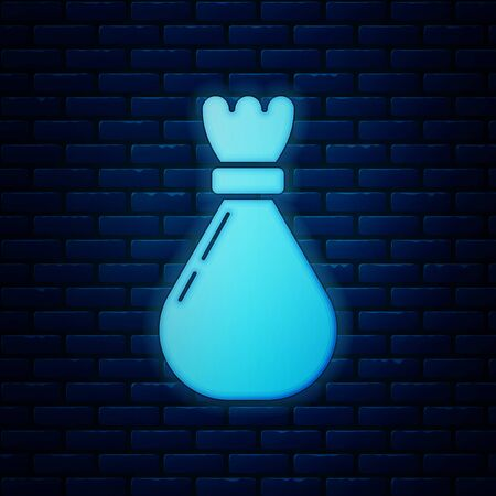 Glowing neon Garbage bag icon isolated on brick wall background. Vector Illustration Illustration