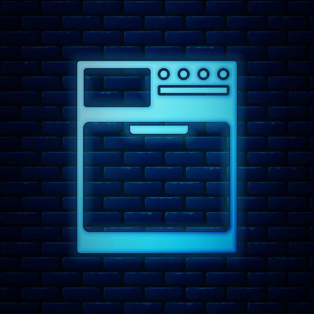 Glowing neon Washer icon isolated on brick wall background. Washing machine icon. Clothes washer - laundry machine. Home appliance symbol. Vector Illustration Ilustração