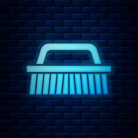 Glowing neon Brush for cleaning icon isolated on brick wall background. Vector Illustration